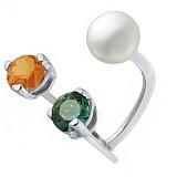 Серебряное кольцо с сердоликом, хризолитом и жемчугом Сезам