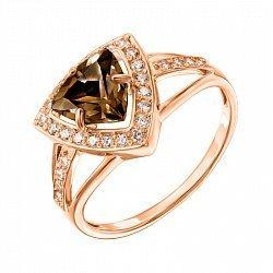 Кольцо из красного золота с раухтопазом и фианитами 000139259
