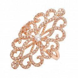 Кольцо из красного золота на всю фалангу с ажурным орнаментом и фианитами 000122295