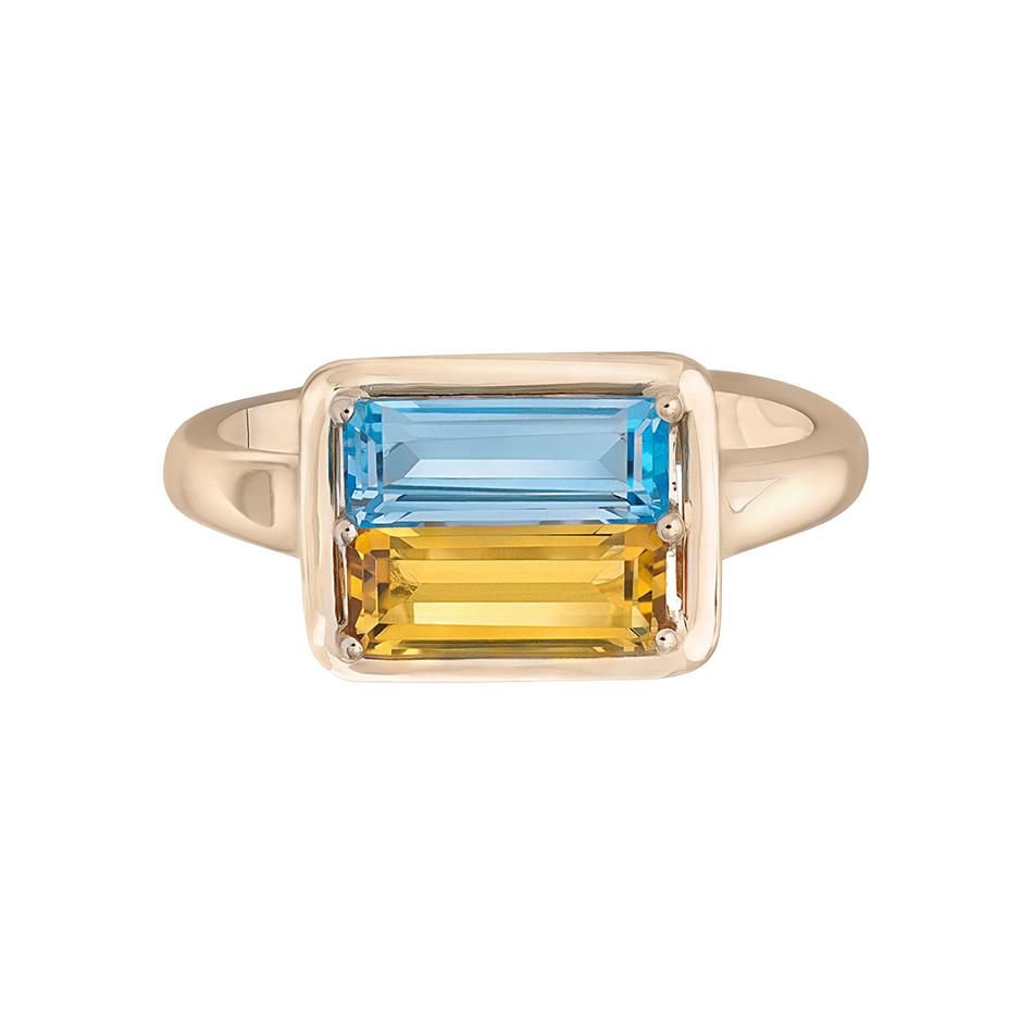 Золотое кольцо с топазом и цитрином Символ Украины 1К759-0219