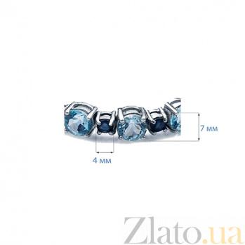 Серебряный браслет с сапфирами и топазами Ясное небо AQA--B00019TS