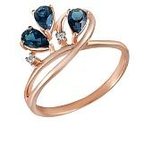 Кольцо Лаура из красного золота с бриллиантами и топазами