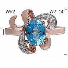 Кольцо Таллин из комбинированного золота с бриллиантами и топазом