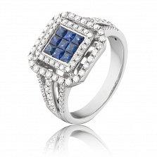 Золотое кольцо Раяни в белом цвете с сапфирами и бриллиантами