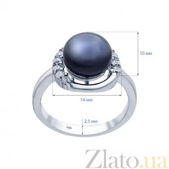 Серебряное кольцо с черным жемчугом и фианитами Кармела AQA--R00593PB