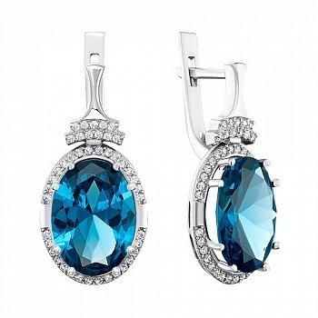 Серебряные серьги с кварцем London blue и фианитами 000141324