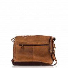 Кожаная сумка на каждый день HILL BURRY 100107 коричневого цвета с молнией и клапаном