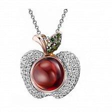 Кулон из красного и белого золота Райское яблоко с бриллиантами и гранатом