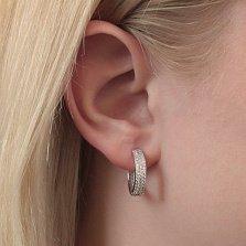 Серебряные серьги-кольца Евангелина в усыпке белого циркония