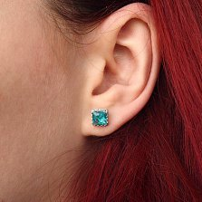 Серебряные пуссеты Гвиневра с голубыми алпанитами