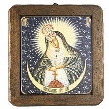 Икона на деревянной основе Остробрамская с цветной эмалью, 26х30