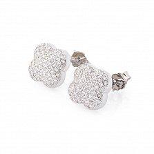 Серебряные серьги-пуссеты Арананта с цирконием и цветочками в стиле Ван Клиф
