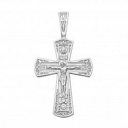 Серебряный крестик Господь Всемогущий с молитвой на тыльной стороне