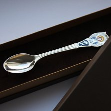 Серебряная чайная ложка Ангел-Хранитель с эмалью