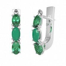 Серебряные серьги Донателла с зеленым агатом, зеленым кварцем и фианитами