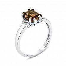 Серебряное кольцо с раухтопазом и фианитами 000133591