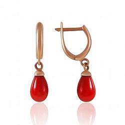Серьги-подвески из красного золота с имитацией красного жемчуга 000003046