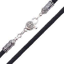 Шелковый шнурок Спаси и Сохрани с серебряной застежкой, 4мм 000042685