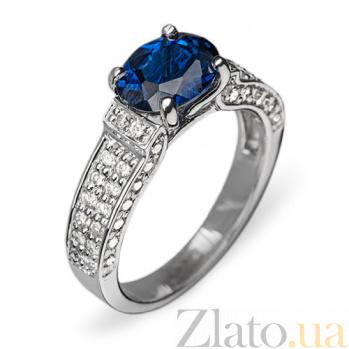 Золотое кольцо с сапфиром и бриллиантами Арлетта R 0423