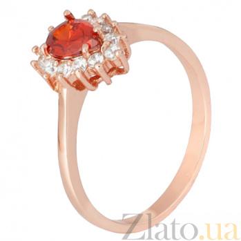 Позолоченное серебряное кольцо с красным фианитом Пенелопа 000028422