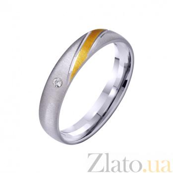 Золотое обручальное кольцо Гармония стиля с фианитом TRF--422343
