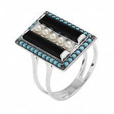 Серебряное кольцо Ночное рандеву с ониксом, жемчугом и бирюзой