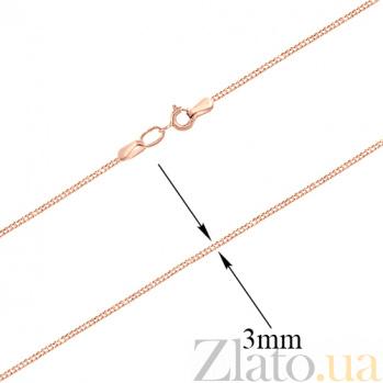 Золотая цепочка плетения ромб Элегантность в красном цвете с алмазной насечкой, 3мм 000023524