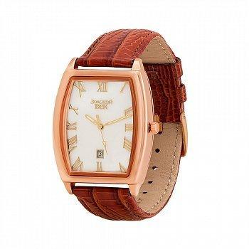 Годинник з червоного золота з ремінцем зі штучної шкіри 000147252