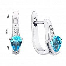 Серебряные серьги Леона с голубыми топазами и фианитами
