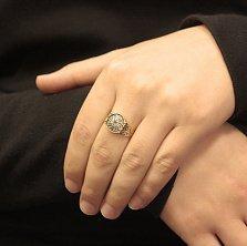 Серебряное кольцо Коловрат в позолоте с чернением