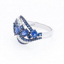 Золотое кольцо Жизель с сапфирами и бриллиантами