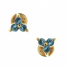 Золотые серьги-пуссеты с топазами Хлоя