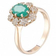 Золотое кольцо Хелена с изумрудом и фианитами