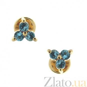 Золотые серьги-пуссеты с топазами Хлоя 000021737