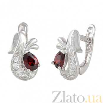 Серебряные серьги с красным цирконием Берфане SLX--С2ФГ/098