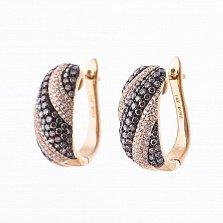 Золотые серьги Виолетта с коньячными и белыми бриллиантами