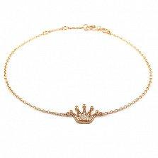 Золотой браслет Монарший с фианитами, 16,5-18,5 см