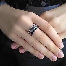 Серебряное кольцо Вдохновение с карбоном и фианитом