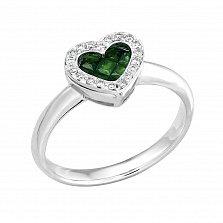 Золотое кольцо Сияющее сердечко в белом цвете с изумрудами и бриллиантами