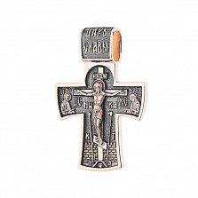 Золотой черненный крест Сила веры с Ангелом-Хранителем на тыльной стороне