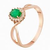 Золотое кольцо с бриллиантами и изумрудом Нинет