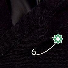 Серебряная булавка Цветочек с зеленой эмалью