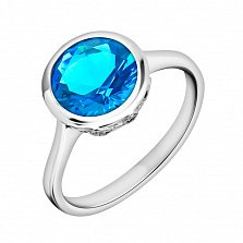 Серебряное кольцо Марина с темно-голубым топазом