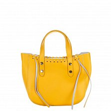 Кожаная сумка на каждый день Genuine Leather 1022 желтого цвета на молнии со съемным ремнем