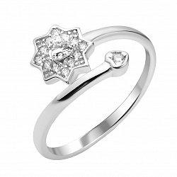 Серебряное кольцо к с разомкнутой шинкой и белыми фианитами 000112720