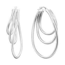 Серебряные многослойные серьги-конго 000136200