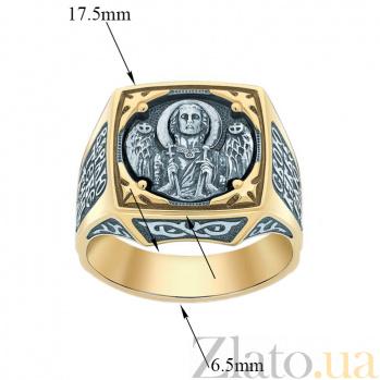Мужской серебряный перстень-печатка Архангел Михаил  в позолоте с чернением 000071413