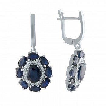 Серебряные серьги с сапфирами 000150587