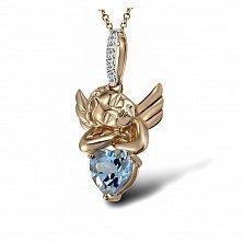 Кулон из красного золота Ангелочек с бриллиантами и топазом