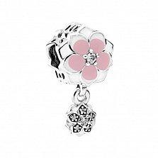 Серебряный шарм Летние цветы с подвеской, фианитами, розовой и белой эмалью в стиле Пандора